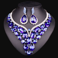 2015 Women Necklace Earring Gold Plated Jewelry Set Collar Swan Bijoux Elements Pink Crystal Wedding Prom