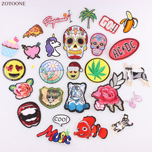 ZOTOONE Rose Embroidery Patch Banana Fish Dog Star Letter Heart Punisher Biker Patch With Sequins Iron On For Clothing Stickers(China)