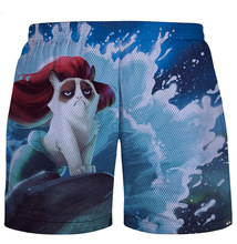 Spring Summer New Smoke Clown Letter Feather Kitten 100 Points 3D Print Men's Fashion Beach Shorts Quick Dry Sweatpants
