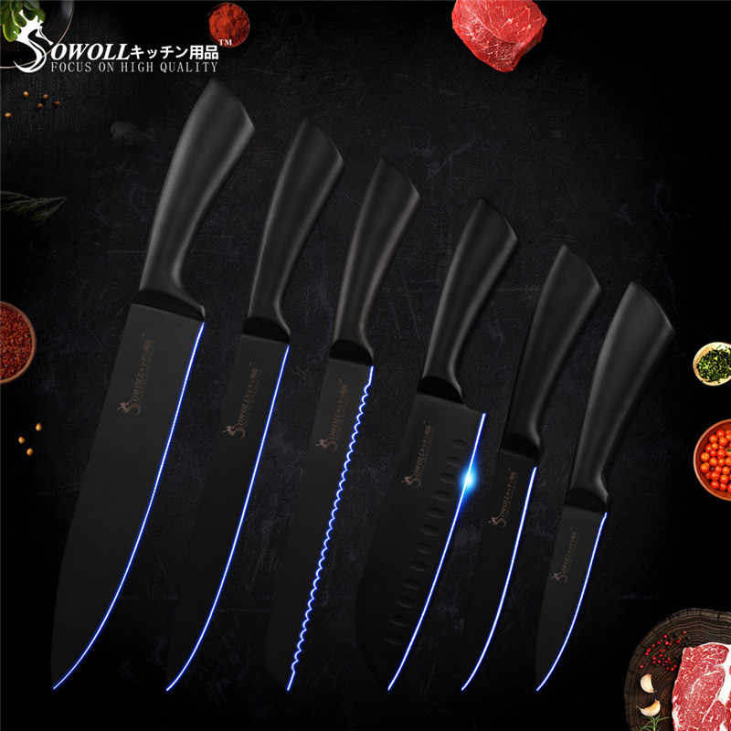 Sowoll Economical Kitchen Knife Set New Designed Stainless Steel Kitchen Knives Set with Knife Stand Sharpener Rod Accessory