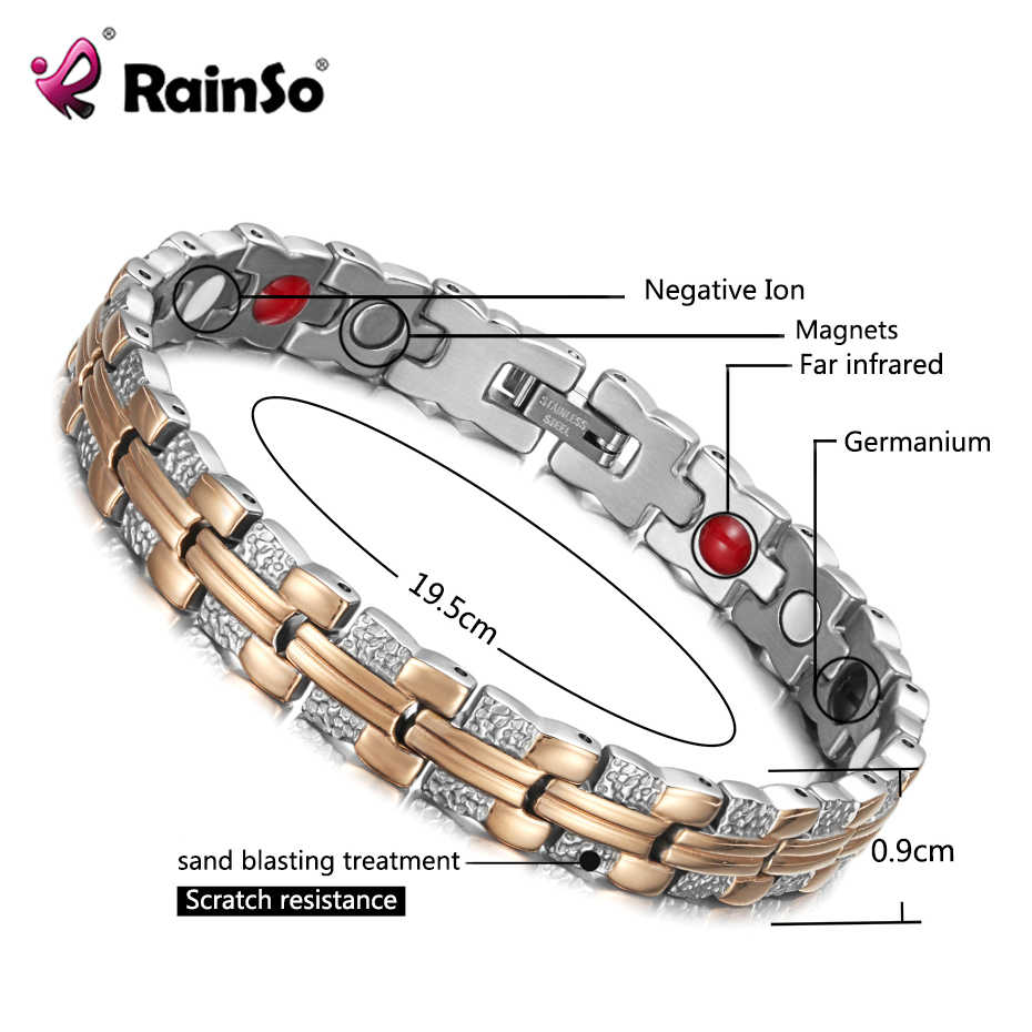 Pulsera moderna Rainso, pulsera magnética curativa para mujer, 4 elementos de cuidado de la Salud (magnética, FIR, germanio, negativo), cadena de mano