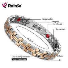 Rainso Trendy Bracelet Healing Magnetic Bracelet for Lady 4 Health Care Elements(Magnetic,FIR,Germanium,Negative ion) Hand Chain(China)