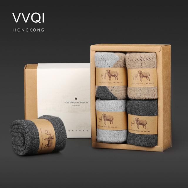 VVQI Winter merino Wool funny Socks women Keep Warm Woman Socks Thickening Thick Thread Socks 4pair/lot mens business sock dress