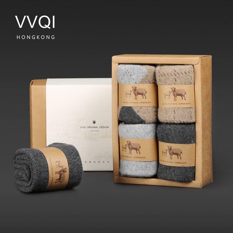 VVQIWinter merino Wolle lustige Socken frauen Warm Halten Frau Socken Verdickung Dicken Faden Socken 4 paare/los herren business socksdress