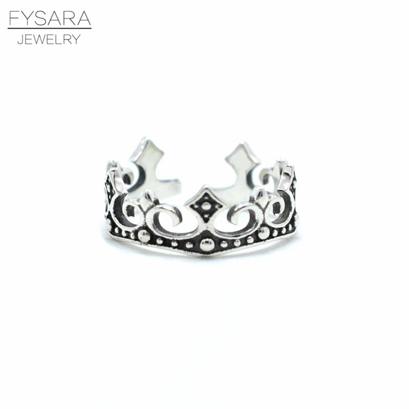 FYSARA 100% 925 Sterling Silver My Princess Queen Crown Engagement Ring for Women Midi Ring Gift 925 Sterling-Silver-Jewelry image