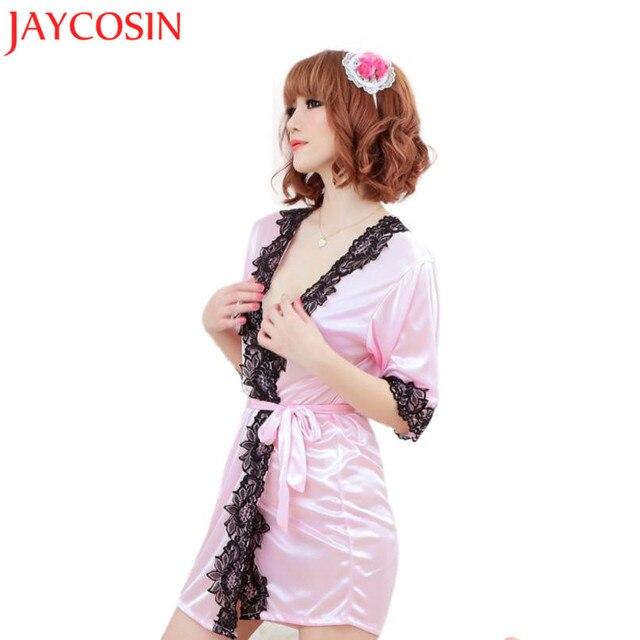 1d5e04c538 JAYCOSIN 2017 Sexy Silk Lace Kimono Dressing Gown Bath Robe Lingerie Sleep  Tops Sep2030