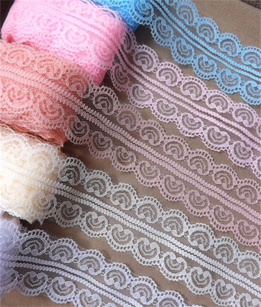 Hot 19color Width 50mm 10yards Embroidered Net Lace Trim fabric Garment ribbon headband Wedding decoration party