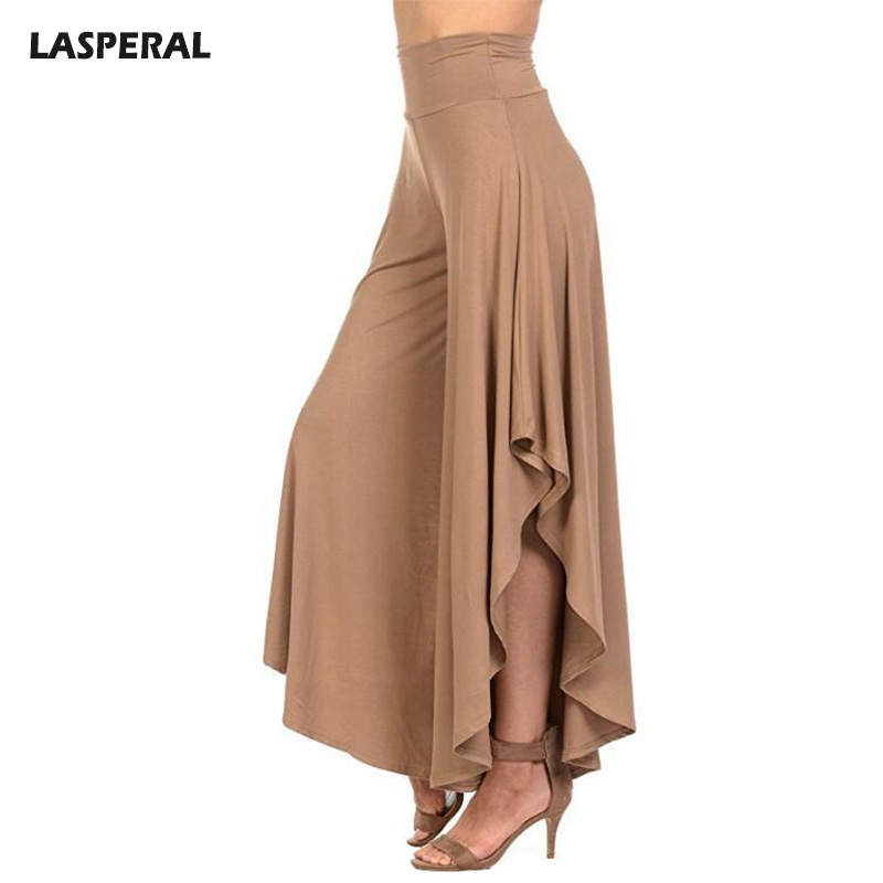 LASPERAL Elegant Irregular Ruffles Wide Leg Pants Women High Waist Pleated Pants Femme Casual Loose Streetwear Trousers