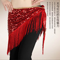 wholesale new Tassel belly dance hip scarf Triangle Shawl Belt with Sequin Belt  Women's Belly Dance Belt With 9 colors