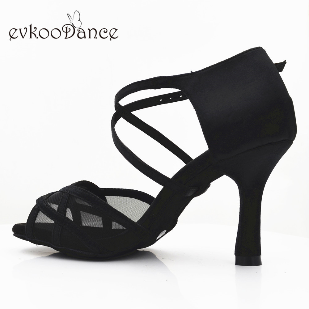 Black Color With Black Mesh Size US 4-12 Zapatos De Baile Latin Dancing Shoes 8.3 Cm Heel Height Professional NL234