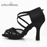 Black Color With Black Mesh Size US 4 12 Zapatos De Baile Latin Dancing Shoes 8.3 cm Heel Height Professional NL234