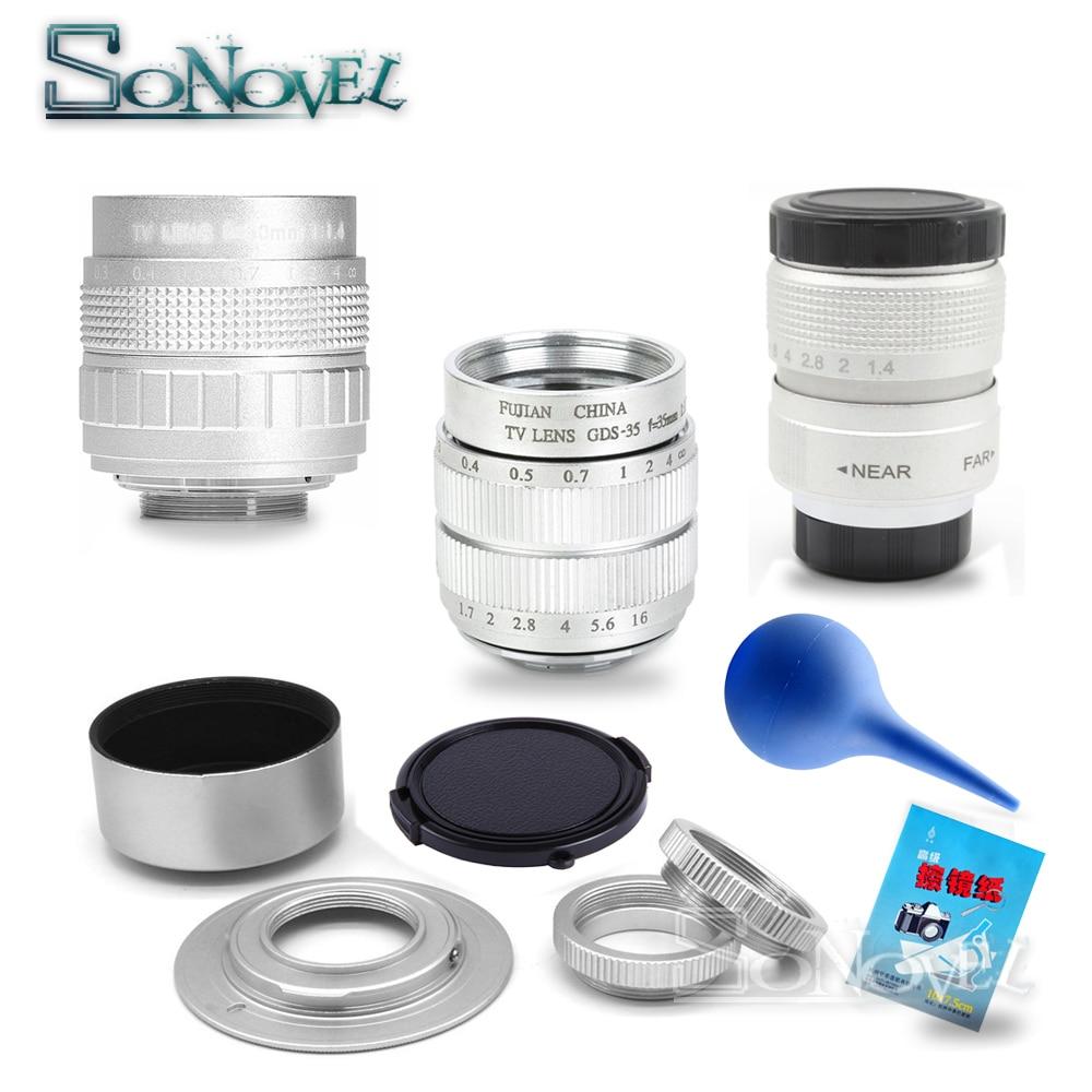 Silver FUJIAN 35mm F1 7 CCTV Movie Lens 25mm f1 4 TV Lens 50mm f1 4