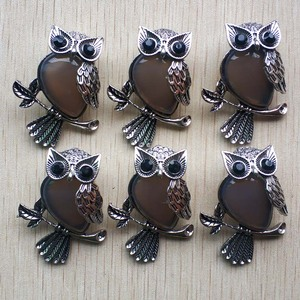 Image 5 - Fashion Vintage copper Plated Owl cute natural tiger eye stone onyx opal pendants for jewelry making wholesale 12pcs/lot free