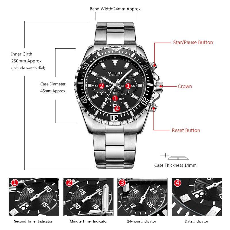 Image 5 - Megir Mans Analogue Chronograph Quartz Watch with Stainless Steel Bracelete Luminous Wristwatch for Boys Calendar 24 Hour 2064GQuartz Watches   -