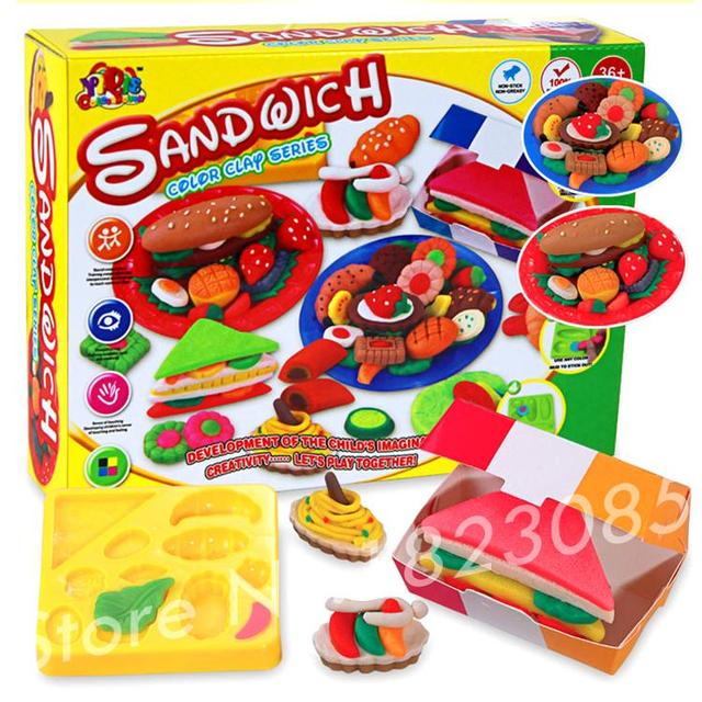 Sandwitch multi-colors fimo polymer clay modeling baked clay with free tools colored clay for kids learning and educational toy