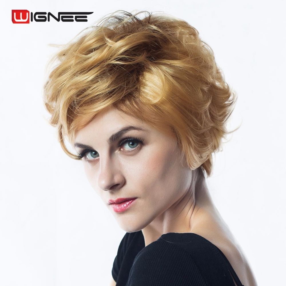 Wignee Short Mixed Color Golden Blonde Summer Wig Natural Hair Curly Heat Resistant Synthetic Classic Wig For Black/White Women