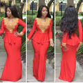 Elegante Aso Ebi Vermelho Marroquino Kaftan Dubai Muçulmano Vestido de Noite Frisado Ouro Peplum Manga Longa Cftan Marroquino Turco Vestido Formal