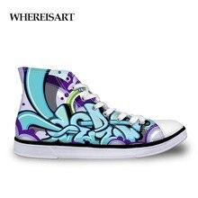 WHEREISART Outdoor Male Shoes Casual Fashion Men's High Canvas Graffiti Teen Hip