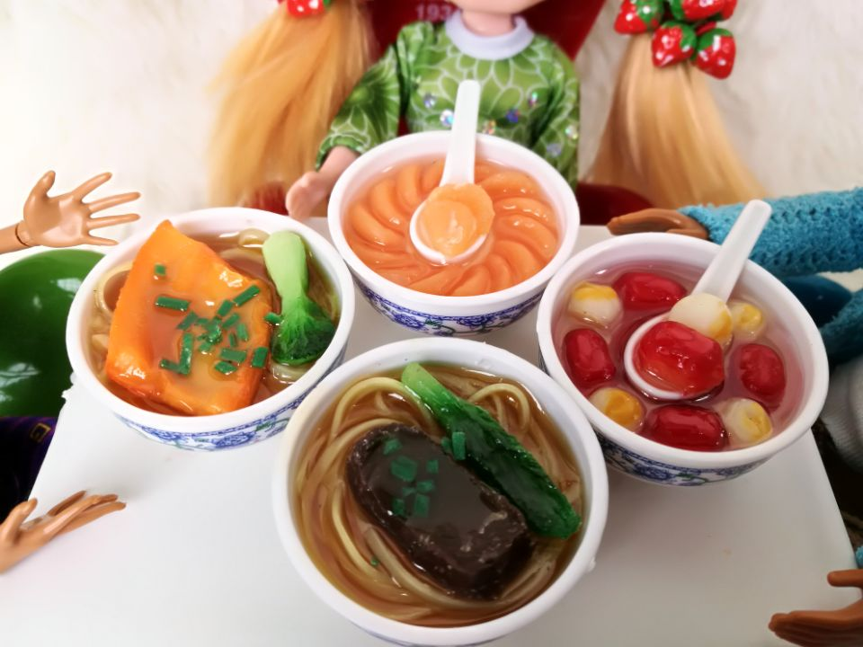 4pcs Blyth 1/6 Doll Accessories Photography Props Simulation Food Noodles Fish Shrimp For Barbie Doll Blyth Doll Accessory