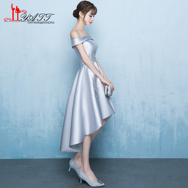 Online Shop New Cheap In Stock Silver High Low Prom Dresses Tea ...