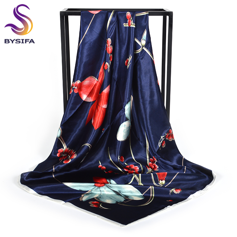[BYSIFA] Women Navy Blue Satin Square   Scarves     Wraps   New Brand Silk   Scarf   Shawl Spring Fall Floral Ladies Neck   Scarf   Cape 90*90cm