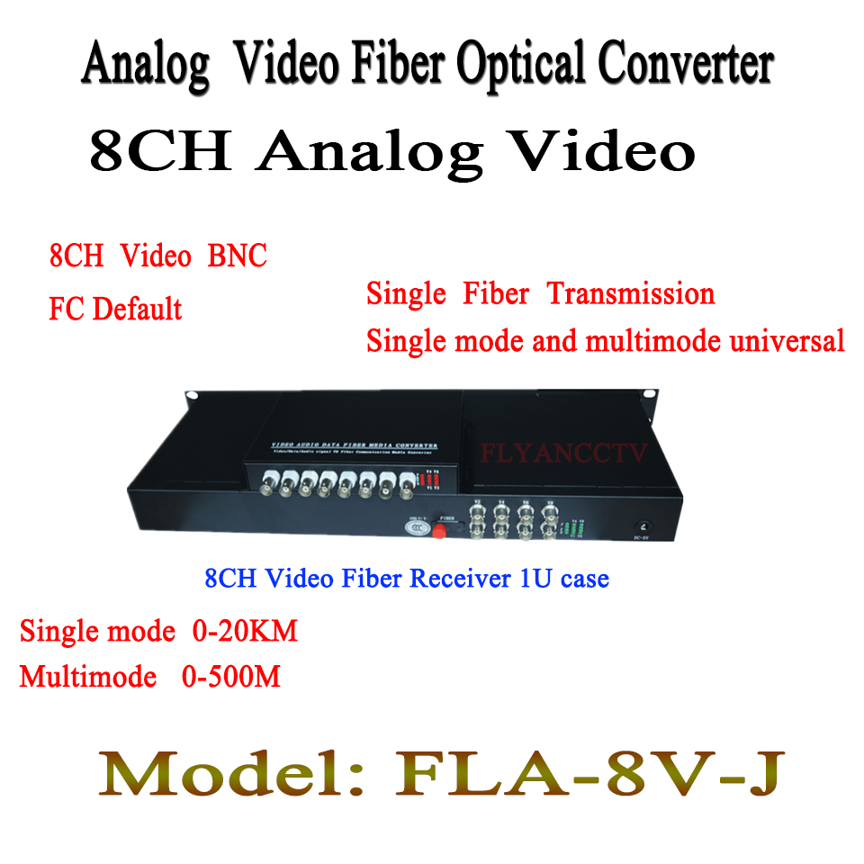 8Ch Video Data Fiber Media Converter Kit  Digital Optical BNC Video + 1ch RS485 data Transmitter desktop  Receiver 1U Mount