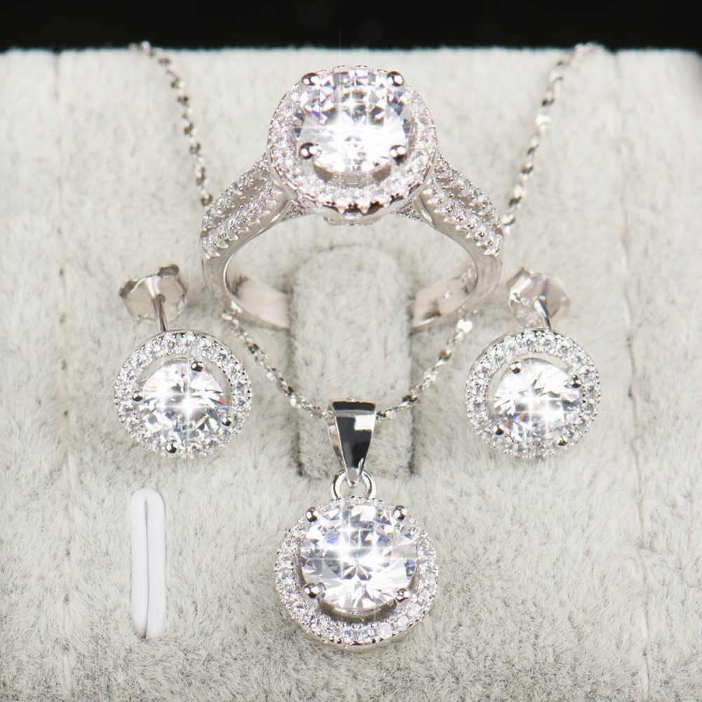 90% Korting Bruiloft Sieraden Sets Voor Bruiden 925 Sterling Zilveren Aaaaa Niveau Cz Stud Oorbellen Ring Ketting Bruids Sieraden Set