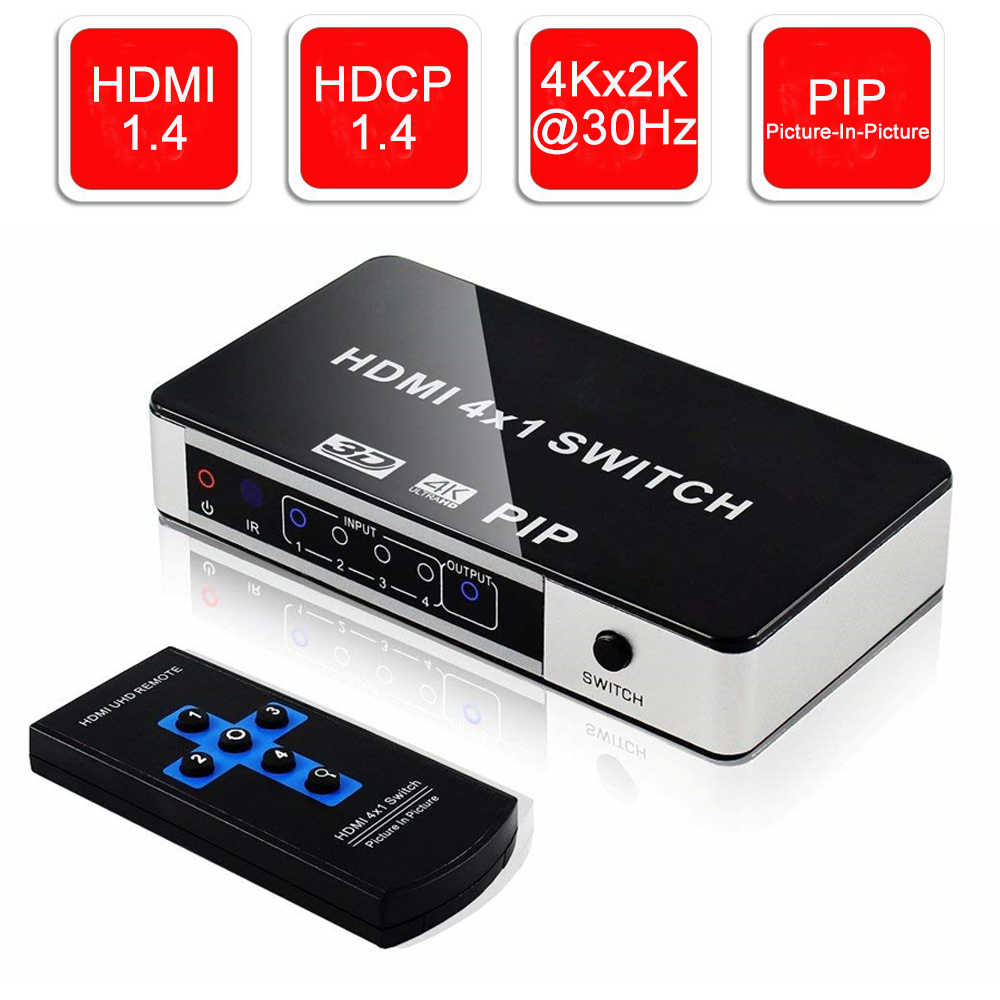 2019 4K 4 Port HDMI Switch PIP 4x1 HDMI PIP Switch Splitter 4 in 1 out Selector with PIP & IR Remote Control Support 1080P 4KX2K