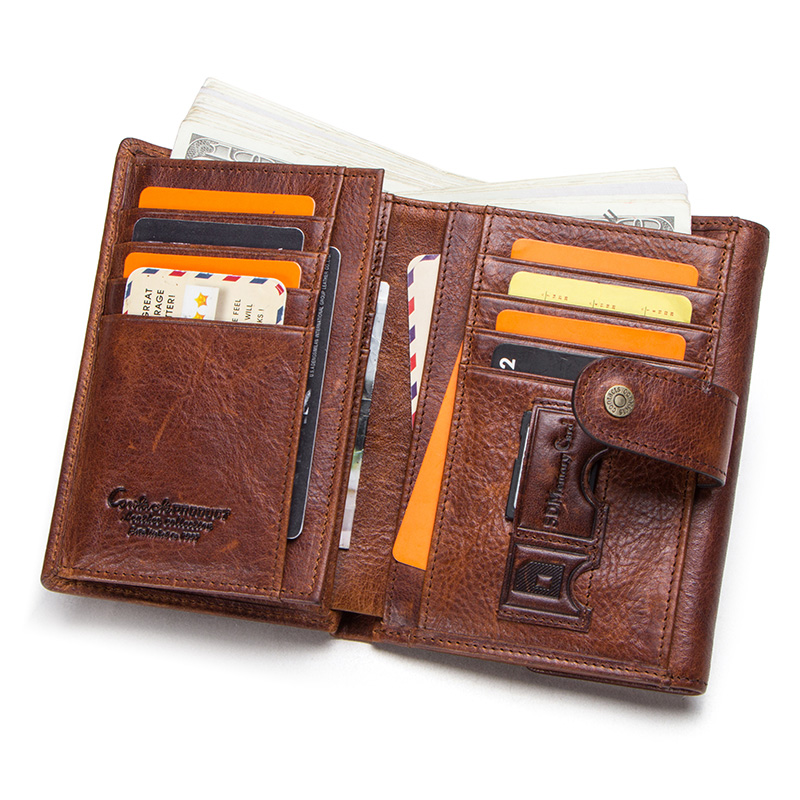 CONTACT'S crazy horse cow leather RFID men wallets credit card holders mens wallet with coin pocket brand walet male clasp purse 1