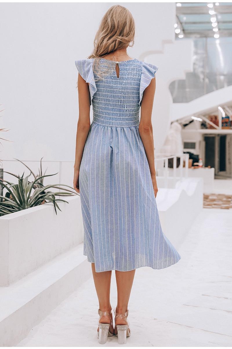 Vintage Ruffles Blue Striped Elegant Dress 3