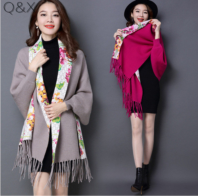 SC86 2018 Winter Knitted Scarf Luxury Faux Cashmere Poncho Women Printed Neck Designer Female Long Sleeves Wrap Warm Shawl