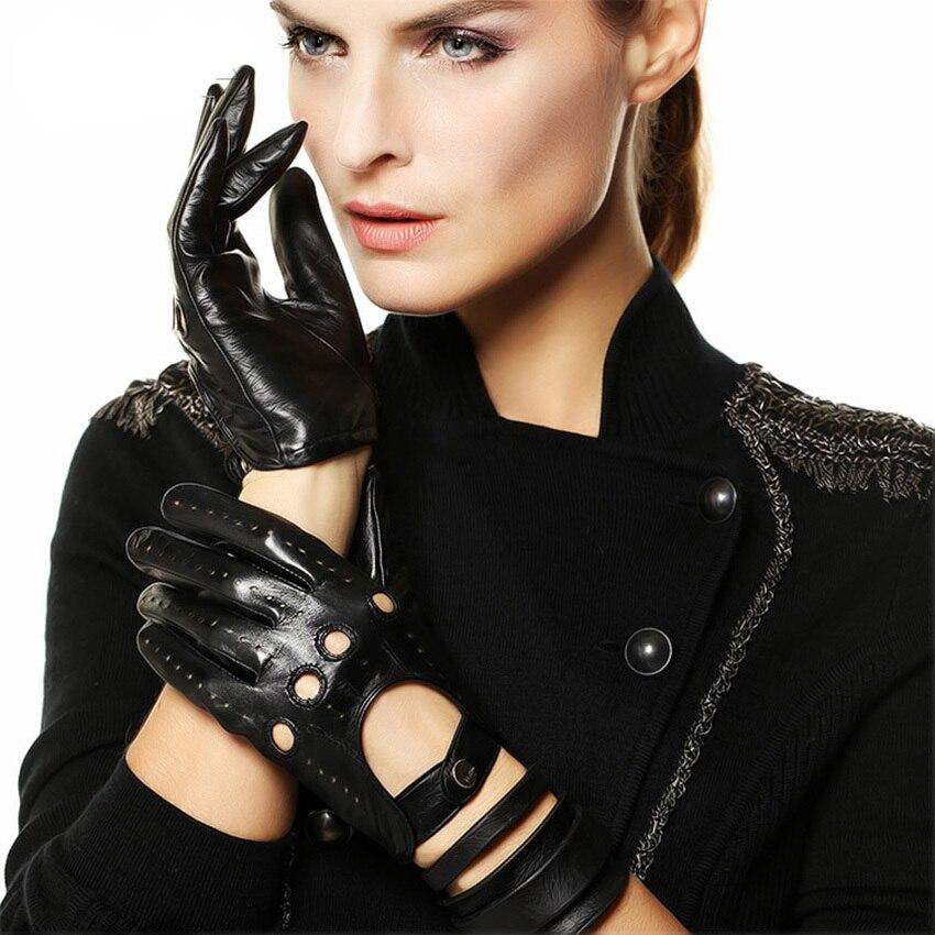 Venta caliente nuevos guantes de cuero para mujer Nappa piel de oveja muñeca sólida transpirable Real moda auténtica guante de conducción envío gratis EL041N - 4