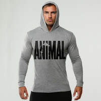 Brand Clothing ANIMAL Printed Long Sleeve Slim Fit Hooded T Shirt Men Cotton Tee Shirt Bodybuilding