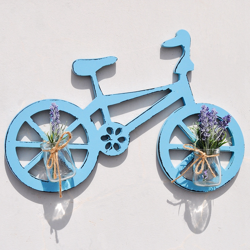 Creative Home Decoration Wall Ornaments Bicycle Shape Wood Wall Hanging Plant Decoratie Hydroponics Glass Vase Decoration Crafts