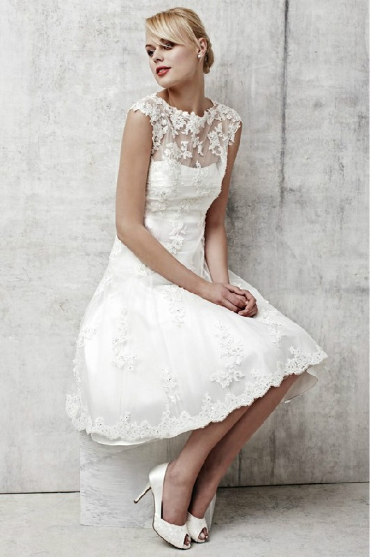 812a12d3673d New 2PCS Tea Length Ivory/White Lace Coat Wedding Dress Bridal Gown Size 4 6  8 10 12 14 16 18 20 22 24++ Custom