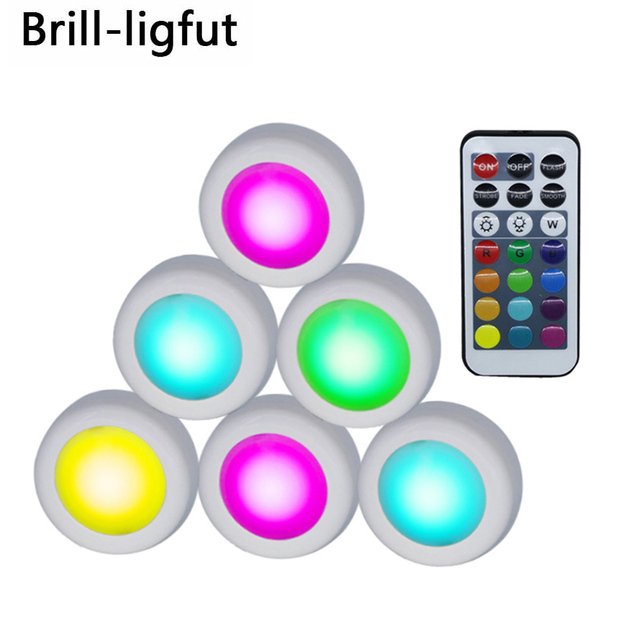 Wireless LED Puck Lights RGB 12 Colors Dimmable Touch Sensor led Under Cabinet Light For Close Wardrobe Stair Hallway Night lamp
