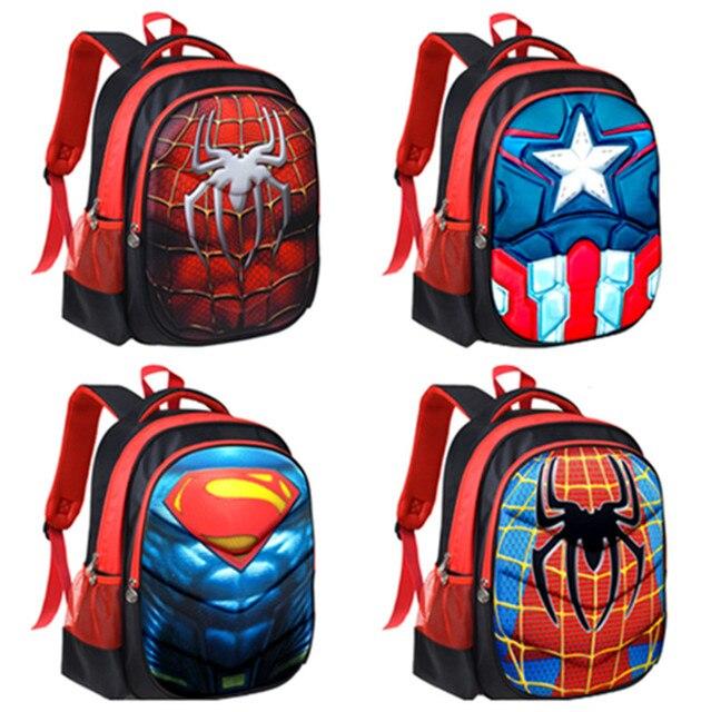 rivenditore all'ingrosso 6165e 9d07f US $29.0 |Spiderman Capitan America Superman Primaria Elementare Scuola  Zaini Dei Bambini Borse da Scuola per I Ragazzi I Bambini Zainetto Zaini in  ...