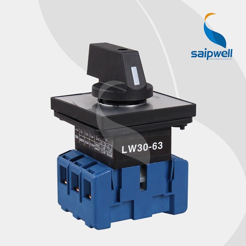 CE approuvé 220 V-440 V 63Amp 4 Positions 6 bornes à vis commutateur inverseur/commutateur rotatif LW30-63
