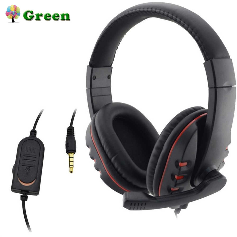 Headphone 3.5 Mm Wired Gaming Headset Earphone Musik Mikrofon untuk PS4 Play Station 4 Permainan PC Chatting Komputer dengan Mikrofon