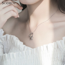 SODROV 2019 NEW Genuine 925 Hot Sterling Silver Necklace Double Heart Pendant For Women joyas de plata 925 NN016(China)
