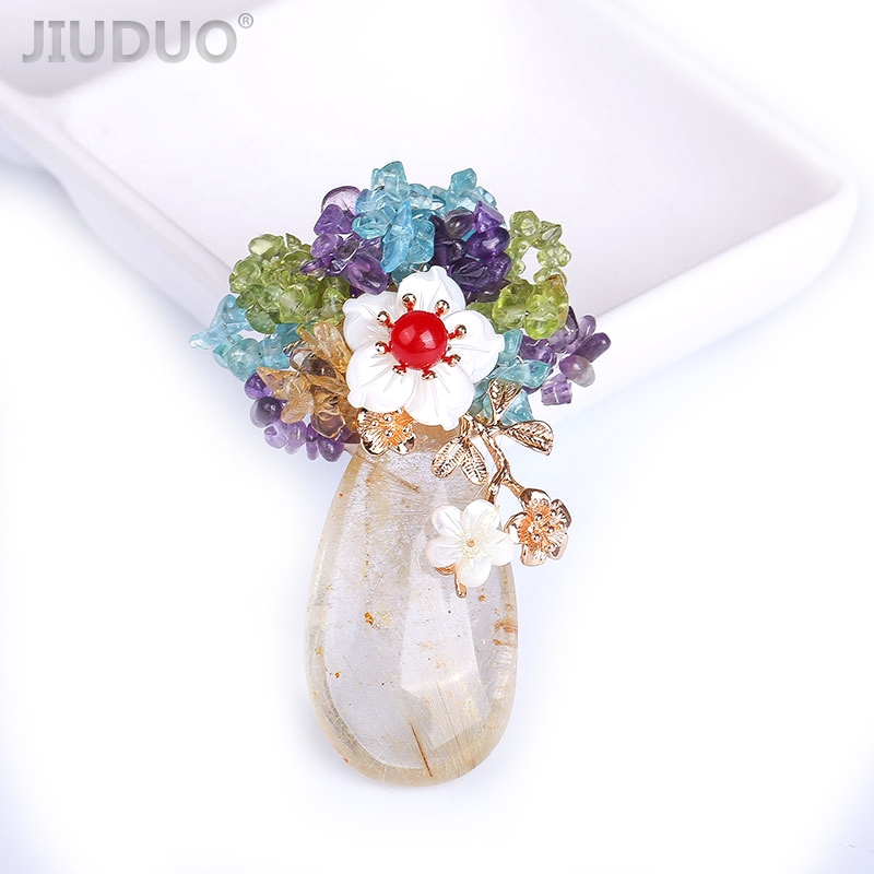 Designer fait à la main en cristal naturel perle haut de gamme double usage émail fleur broche corsage écharpe boucle vêtements accessoires