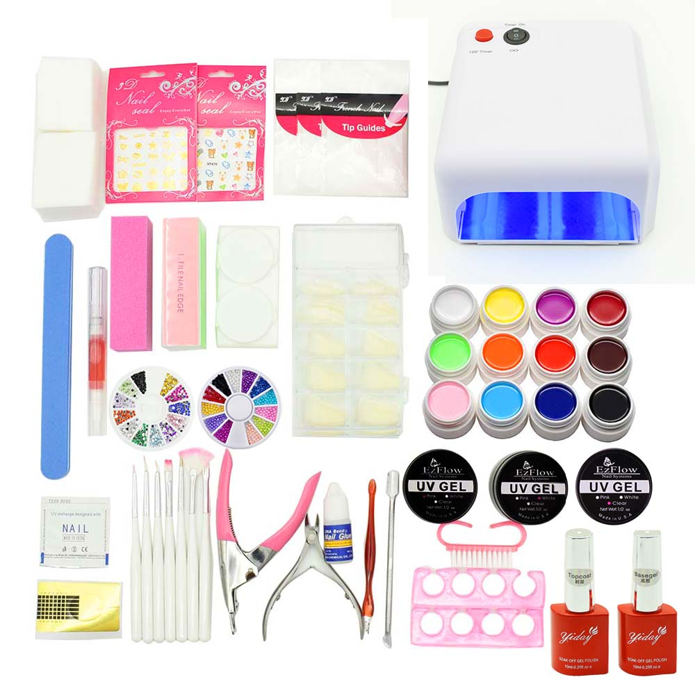 nail set UV led Lamp + 12 Color UV/LED Gel + Builder Gel nail extensions base gel top coat Nail Art tools manicure Beginner kit nail art manicure tools set uv lamp 10 bottle soak off gel nail base gel top coat polish nail art manicure sets