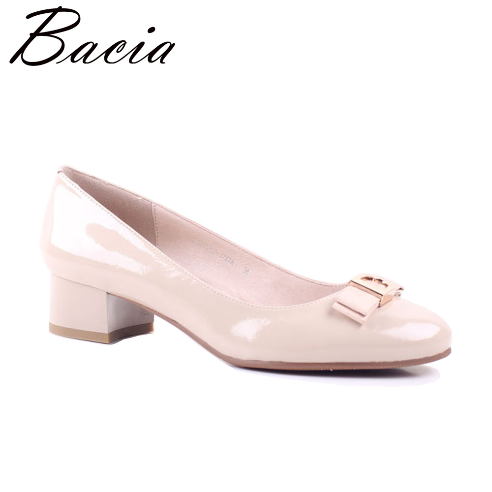 Bacia Apricot Sheepskin pumps Low Heels Wrinkle Leather Shoes Thick Heel Round Toe Pumps Size 35-41 Summer Fashion Shoes SA061
