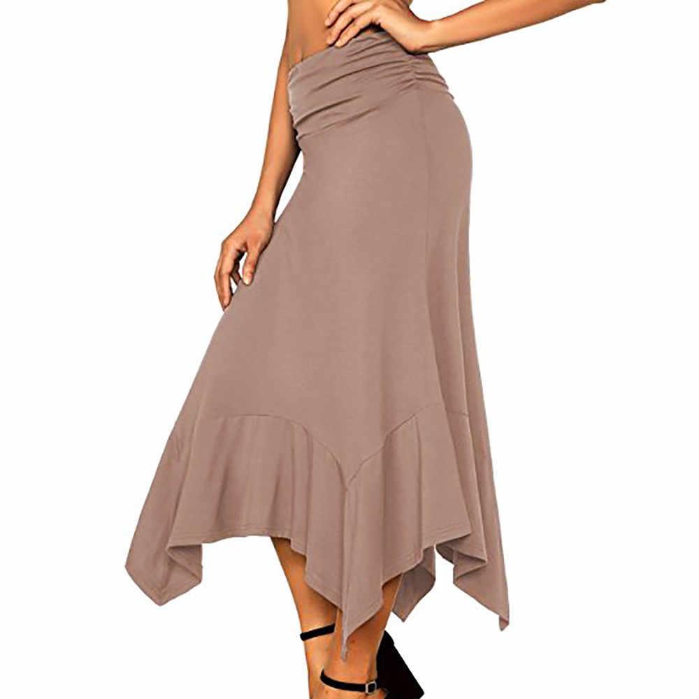 Jaycosin חצאית אופנה גבירותיי מוצק צבע סדיר מכפלת שמלה סקסי חצאית גבירותיי קוריאני אלגנטי מסיבת קוקטייל מותן ארוך חצאית