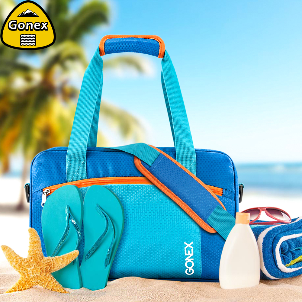 Gonex INS Style Waterproof Swimming Bag Beach Pool Combo Dry Wet Handbag Bikini Swimsuit Large Capacity Swim Gym Tote Bag bag