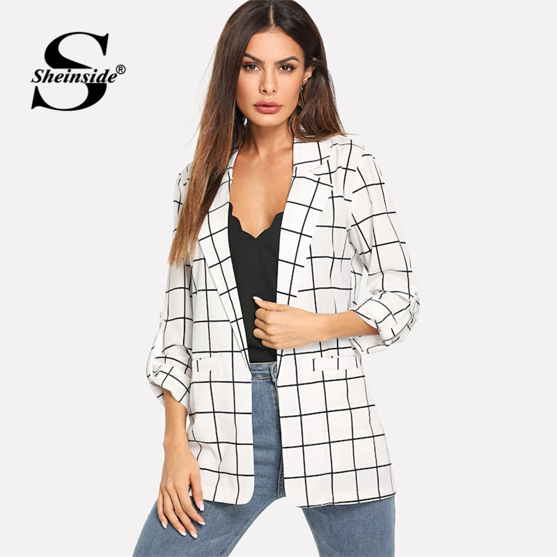Sheinside Notched Collar White Plaid Blazer 2019 Women Casual Roll Up Sleeve Longline Blazer Spring Elegant Workwear Blazers