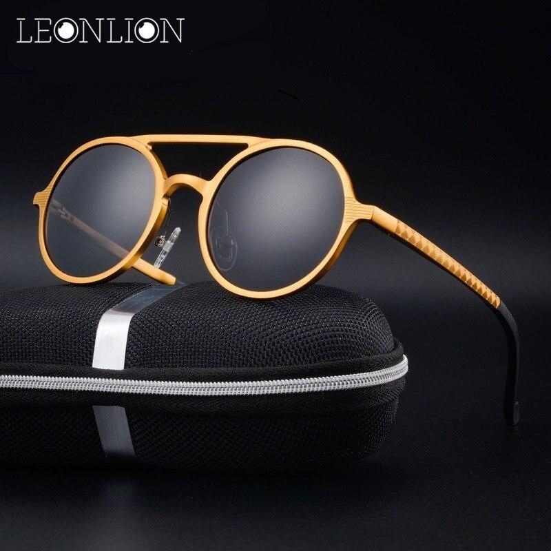 LeonLion Round Classic Aluminum Magnesium Polarized Sunglasses Men Brand Design UV400 Retro Metal Sun Glasses Outdoor