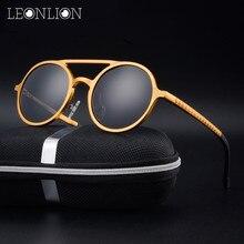 LeonLion Round Classic Aluminum Magnesium Polarized Sunglasses Men Brand Design UV400 Retro Metal Sun Glasses Outdoor Glasses