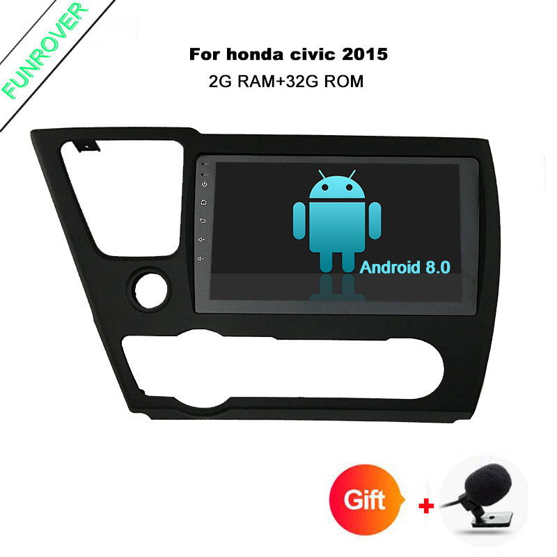 Funrover 9.0 inch Android 8.0 radio tape recorder for Honda Civic 2014 2015 EX/LX/DX GPS ...