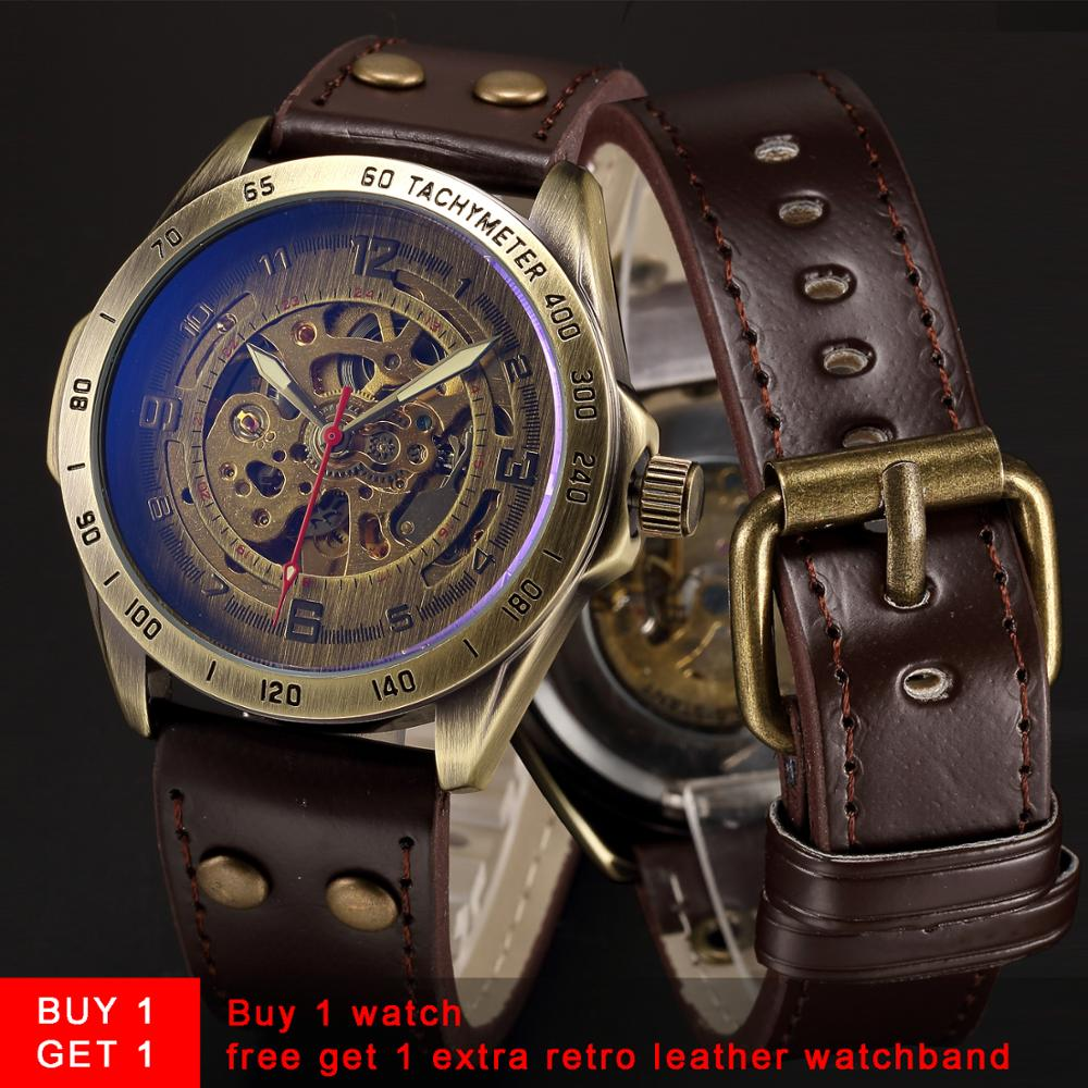 Skeleton Mechanical Watch Automatic Watch Men Steampunk Bronze Transparent Mens Automatic Mechanical Wrist Watches Clock for Man(China)